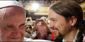 Fotomontaje utilizado por RD paradar esta noticia. Fue ya notorio la  elogiosa acogida de Pablo a  Francisco en el Parlamento Europeo en 2014