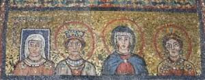 Capilla de San Zenón, Santa Práxedes, Roma, s. IX. Junto a tres santas, Teodora, la madre del papa.